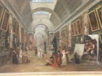 This painting is by Hubert Robert. It is of the early Louvre but really the corridor was not that long. It was how he imagined the Louvre should be. The architect designed the Louvre extensions using Roberts interpretation of how it should be.