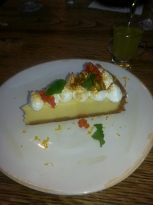 tutti fruitti lemon meringue pie- with With limoncello & crunchy pistachio brittle.