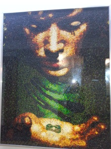 A piece of art made from those expensive little jelly beans - this one is of Frodo