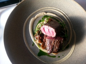 Poached Little River Beef angus fillet, peppered oxtail, morels, sourdough puree